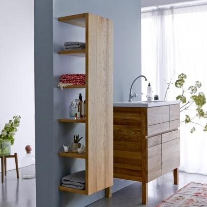 armario alto para el baño de roble