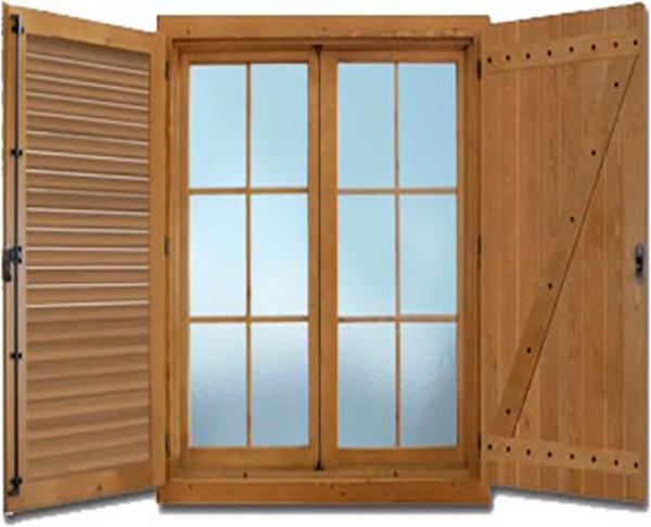 ventana de madera pino